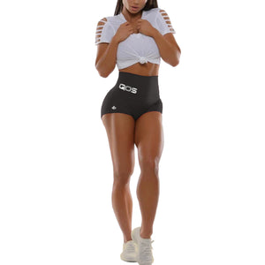 New 2020 QOS High Waisted Yoga Shorts - Reflective Silver Label