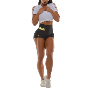 New 2020 QOS High Waisted Yoga Shorts - Reflective Gold Label