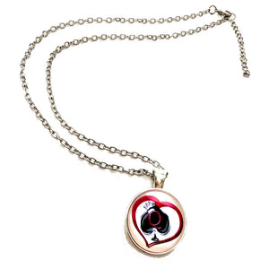 Queen Of Spades - Silver Finish Pendant Necklace - Hotwife, Swinger, fetish, Vixen, Cuckold