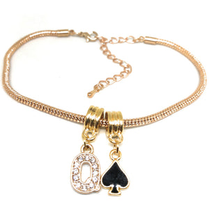 "Queens Of Spades - Crystal ""Q"" Spade  Charm Anklet - Hotwife Rose/Gold Chain"