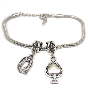 "Queens Of Spades - Crystal ""Q"" Spade  Charm Anklet - Hotwife Silver Chain"