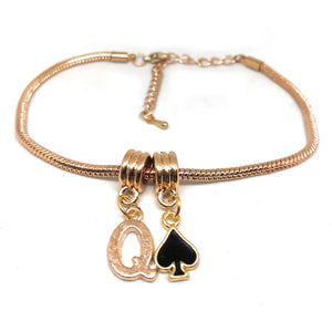 "Queens Of Spades - ""Q"" Spade  Charm Anklet - Hotwife Rose/Gold Chain"