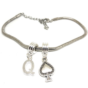 "Queens Of Spades - ""Q"" Spade  Charm Anklet - Hotwife Silver Chain"