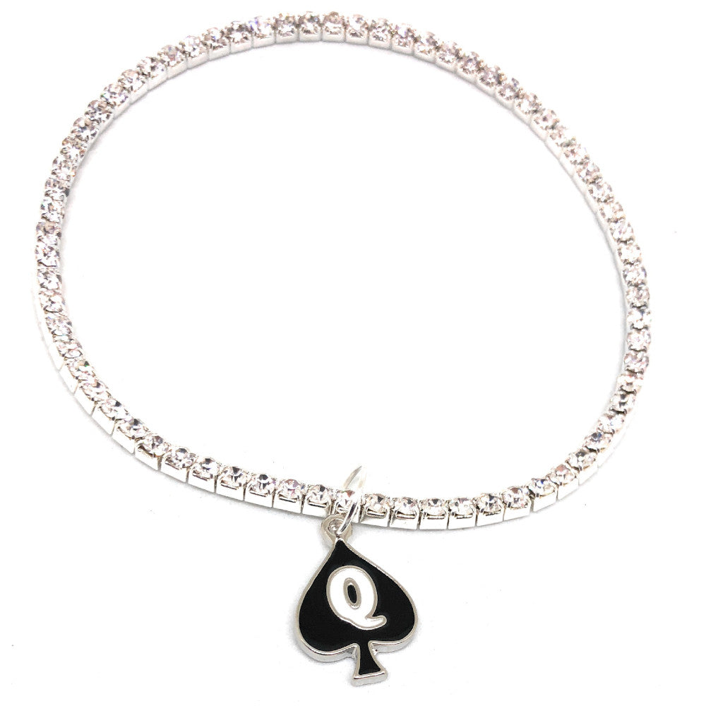 Austrian Crystal Rhinestone Queen Of Spades - QOS Charm Stretch Anklets - Hotwife - Vixen