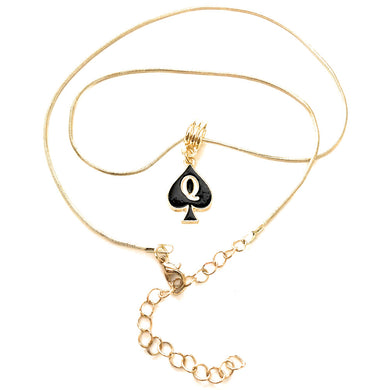 Queen Of Spades - Gold Charm Necklace - Lesbian - Vixen - BBC - Slut - Swinger