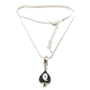 Queen Of Spades - Silver Charm Necklace - Cuckold Jewelry