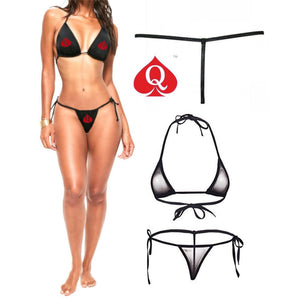 Errotic Red QOS Logo - Fetish - Sexy Black Two Piece G-String Brazilian Bikini