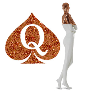 "Mettalic Rose Gold Queen of Spades - 2"" X 2"" QOS - Temporary Tattoos"