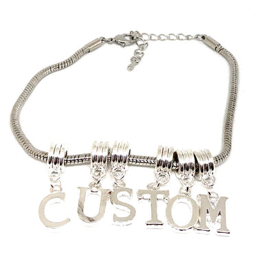 QOS - Custom Lettering Charms for Hotwives - Silver - Euro Snake Anklet
