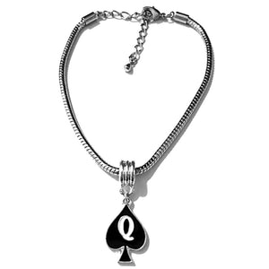 "QOS - Queen Of Spades -""Q"" Spade Charm Anklets - Black Silver or Gold"