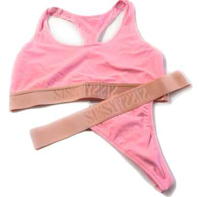 Pink Sissy Bralette 2pc Set Thong Crop Top