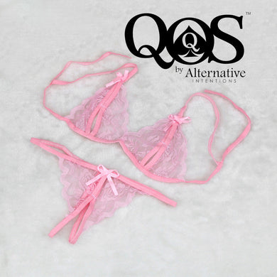 Sissy Pink Mesh Fishnet Lace Set - Bottom, Cuckold, Paypig, CD, TS, Blacked