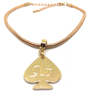 QOS - Slut - Engraved Spade Charm Eurosnake Anklets - Gold, Silver or Black