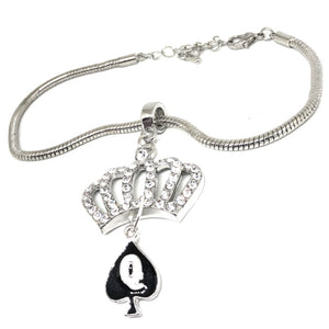 "QOS - ""Crystal Crown"" Queen Of Spades Charm - Silver Euro Anklet for your Hotwife"