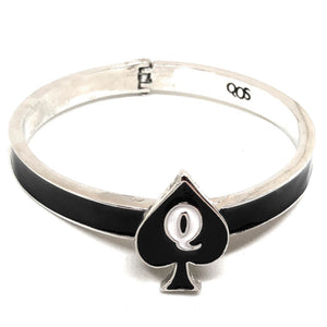 QOS Queen Of Spades -  Branded Charm Logo - Open Hinged Cuff Bracelet