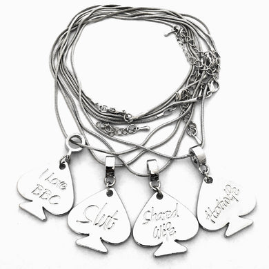 Queen Of Spades - Silver Spade Charm Necklace - Hotwife - Slut - I Love BBC - Shared Wife
