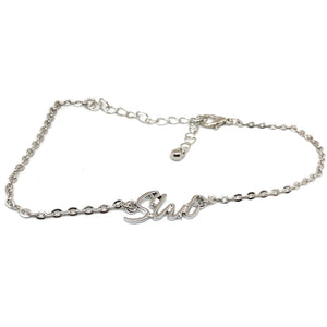 "QOS Queen of Spades - Cursive Letter ""SLUT"" - Chain Anklets - Hotwife Slutty Silver"