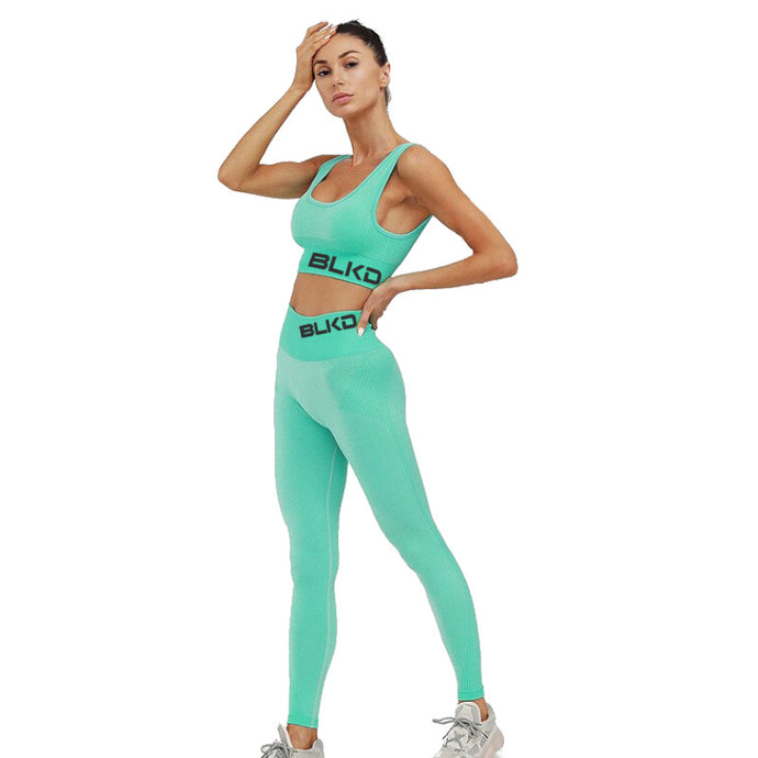 2021 Turquoise Spring Color BLKD - 2 Piece Yoga Suit Seamless High Waist Outfit