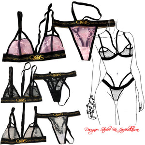Limited Edition - Pink QOS Queen Of Spades - Hollow Out Strap Lace Lingerie Set