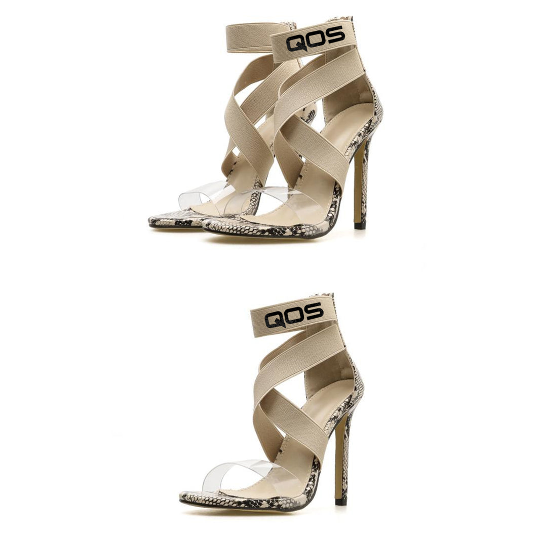 NEW DROP! QOS - Snake Skin Open Toe Strap PVC Clear High Heels - BLK/GLD