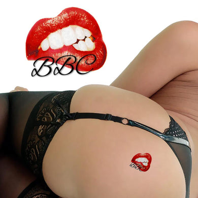 Sexy Biting Lips BBC - Temporary Tattoos - Black & Red