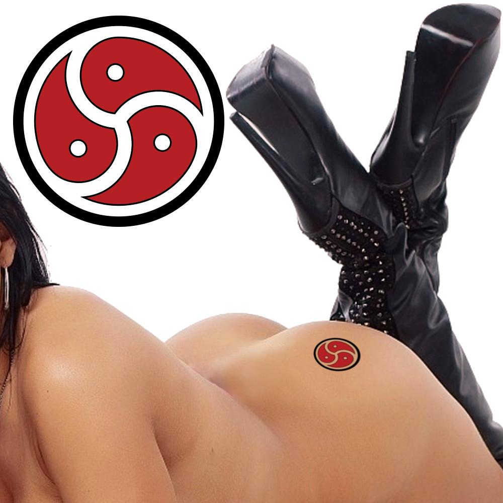 QOS - BDSM - Triskelion Symbol - Deep Red & Black- Temporary Tattoo