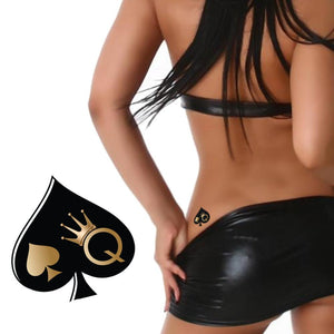 Queen of Spades - High Quality Temporary Tattoos - Black And Gold
