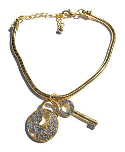 Austrian Crystal Queen Of Spades - LOCK AND KEY Chastity Charm - Gold Anklet