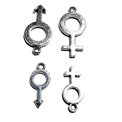 ♂♀ Female or Male Gender Symbol Charm - Swinger - Gangbang - Threesome - Foursome-  Silver