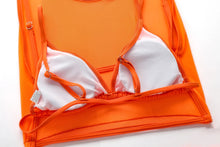 QOS Lace 4pc Bikini - Neon Orange