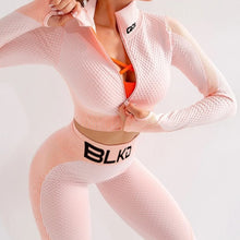 BLKD 2 Piece Tracksuit Workout Outfit - PEACH/WHITE