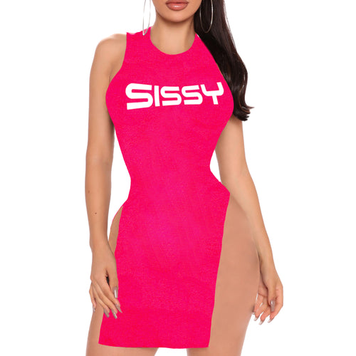 Pink SISSY- Sexy High Neck Bodycon - Sleeveless Extreme Double Splits Tank Dress/Top