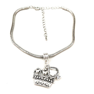 "QOS - ""Crown"" Spade V1 (Queen Of Spades) Charm - Silver Snake Chain Anklet"