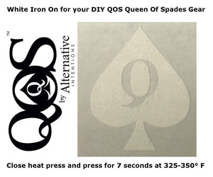 Queen Of Spades - Iron on 3 x 2 Inches - Any Apparel