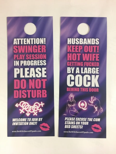 Swinger Cuckold Party Favors!!! - Double Sided Privacy Door Hanger