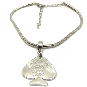 SHARED WIFE Engraved Spade Charm Euro Snake Anklets - Gold, Silver or Black