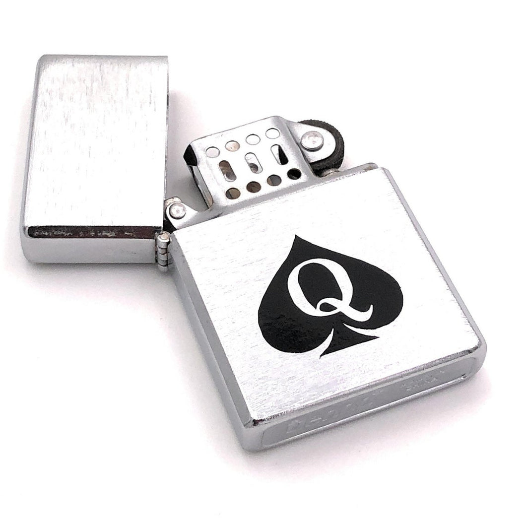 Queen of Spades - Slim Silver Zippo Style QOS Lighter - Blacked