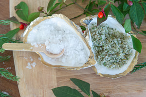 Gold Rimmed Oyster Shell Salt Dishes