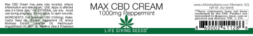 Max CBD FULL Spectrum Cream 1000mg (2oz) PEPPERMINT