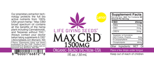 Max CBD BROAD Spectrum Oil LEMON 1500mg - 1oz (50mg/ml) THC FREE