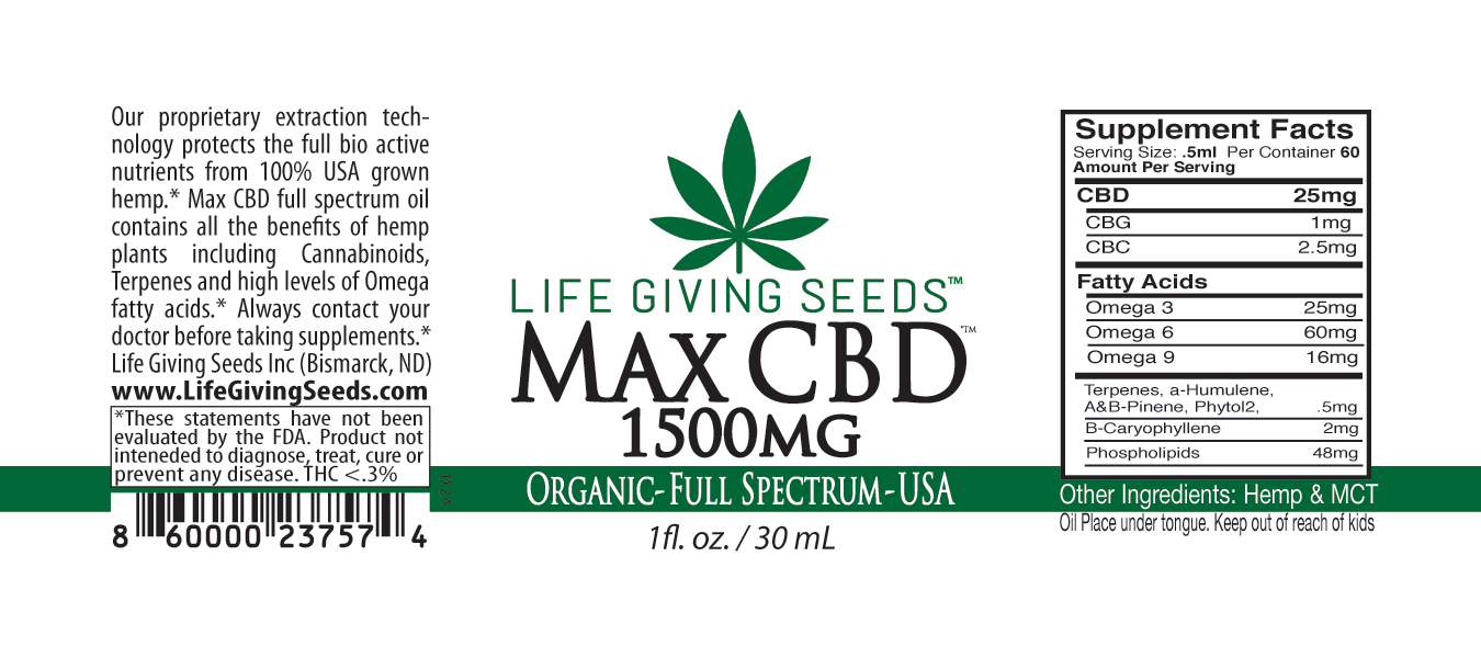 Max CBD FULL Spectrum Oil 1500mg - 1oz (50mg/ml)