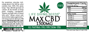 Max CBD FULL Spectrum Oil MINT 1500mg  - 1oz (50mg/ml)