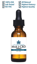Max CBD ISOLATE 1500mg - 1oz (50mg/ml) THC FREE