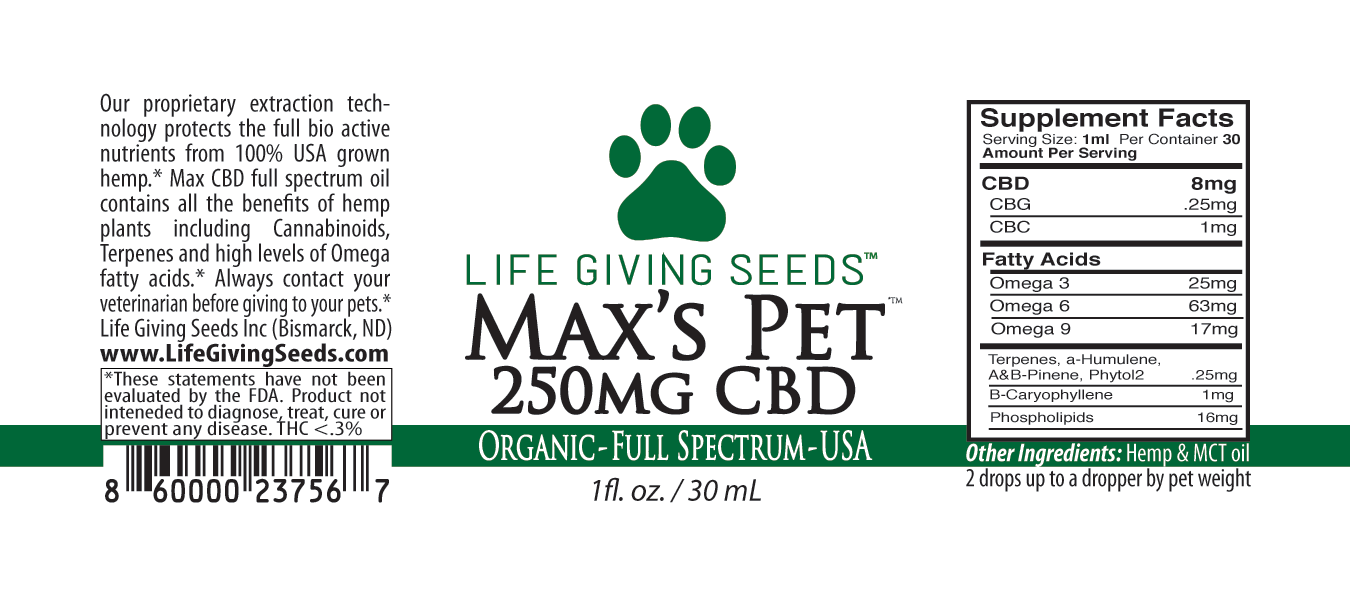 Max's Pet CBD FULL Spectrum Oil 250mg - 1oz