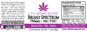 Max CBD BROAD Spectrum Gummy 750mg (30 Count - 25mg/per) THC FREE