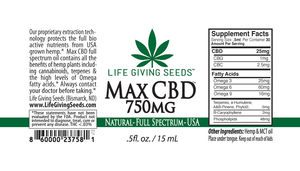 Max CBD FULL Spectrum Oil 750mg (.5oz 50mg/ml)