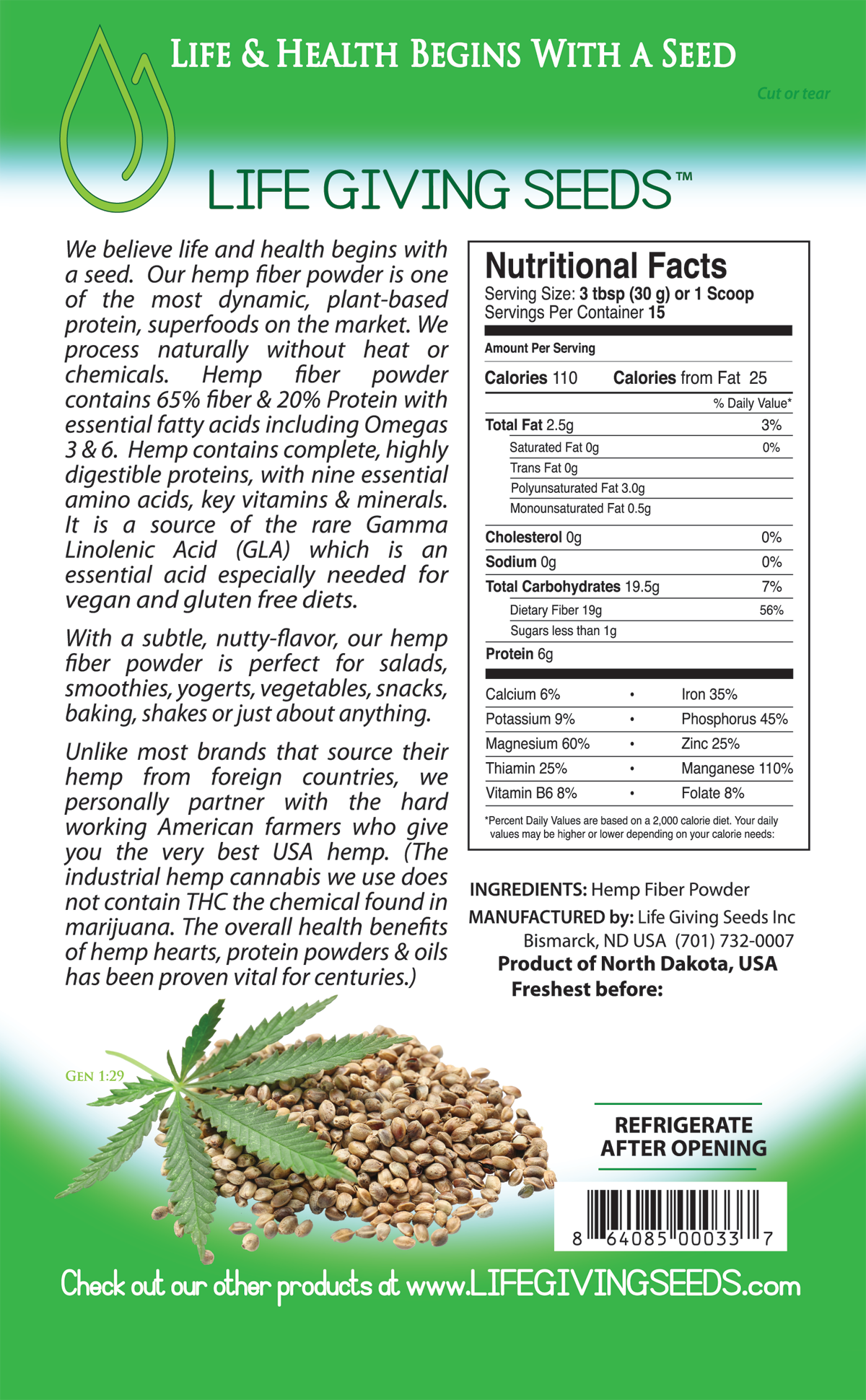 Hemp Fiber and Protein Powder