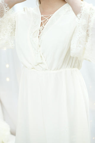 White Lace Embellished Dress