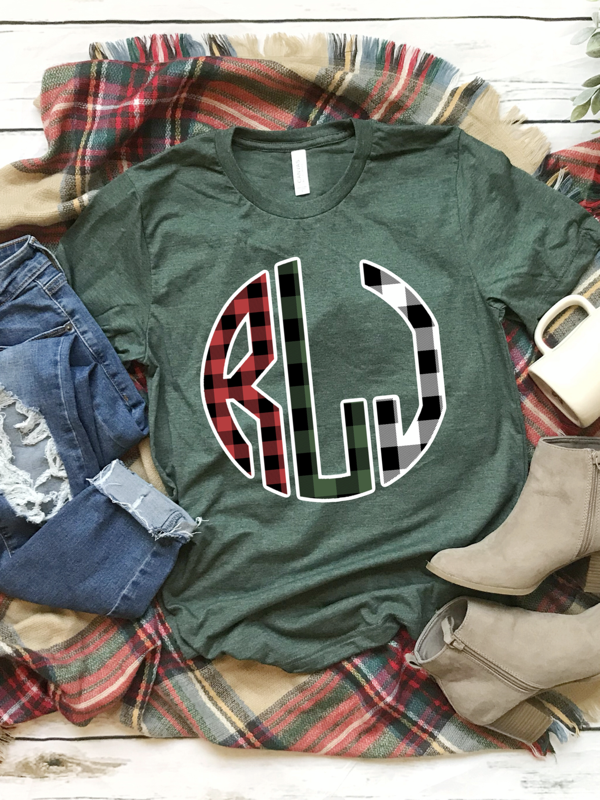 Buffalo Plaid Monogram Graphic Tee