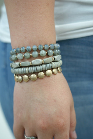 Gray Stacked Bracelet Set